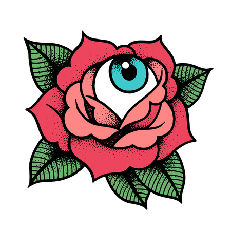 Old school rose tattoo with eye. Traditional black dot style ink. Isolated vector illustration. Traditional Tattoo Flowers
