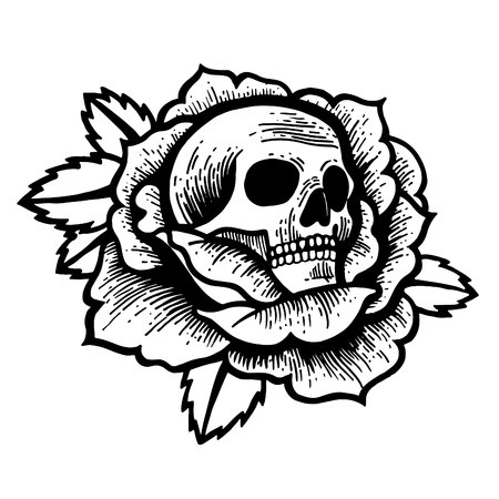 Old school rose tattoo with skull. Traditional black dot style ink. Isolated vector illustration. Traditional Tattoo Flowers Set Old School Tattooing Style Ink Roses Çizim