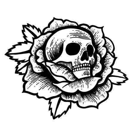 Tatouage rose old school avec crâne. Encre de style point noir traditionnel. Illustration vectorielle isolée. Fleurs de tatouage traditionnel mis Old School Tattooing Style Ink Roses Vecteurs