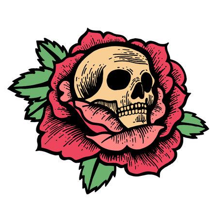 古い学校は頭蓋骨を持つバラの入れ墨をバラ。伝統的なブラックドットスタイルのインク。孤立したベクターの図。伝統的なタトゥーフラワーセッ  イラスト・ベクター素材