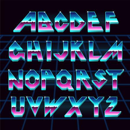 80 s retro alphabet font.