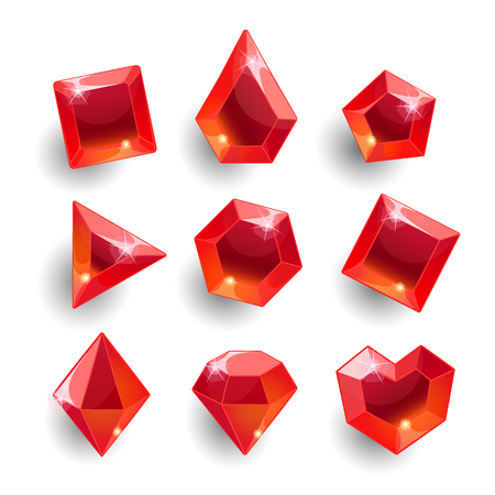 Cartoon red different shapes crystals