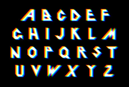 Distortion Alphabet.Vector distorted glitch font. Trendy style lettering typeface. Latin letters Glitch typeface. Green and red channels. Trendy style distorted vector illustration 向量圖像