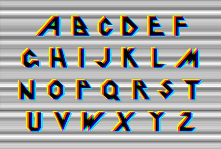 Distortion Alphabet. Vector distorted glitch font. Trendy style lettering typeface. Latin letters Glitch typeface. Green and red channels. Trendy style distorted vector illustration