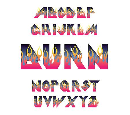 Alphabet 80 s retro font. Fire flame burning fonts. Vector typography for flyers, posters. Fiery Effect shiny letters. 80s metallic style, vintage.Retro Rock Font Alphabet. 3d logo set elements design