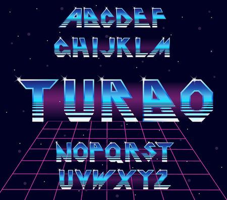 Alphabet 80 s retro font.Vector typography for flyers, posters. Iron Effect shiny letters. 80s metallic style,vintage metal.Retro Futurism Sci-Fi Font Alphabet Vector.3d logo set elements design