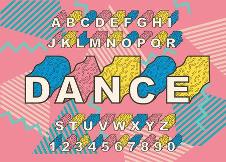 Polices d'alphabet rétro des années 90. Vintage Alphabet vector 80 s, ensemble d'affiche graphique de style ancien des années 1990. Modèle graphique de style années 80. Modèle facilement modifiable pour votre conception. Style néon des années 80, soirée dansante vintage