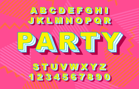 80 s retro alphabet font. Vintage Alphabet vector 80 s, 90 s Old style graphic poster set. Eighties style graphic template. Template easy editable for Your design.80s neon style,vintage dance night.