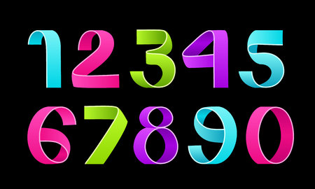 Vector of paper folding numbers. Color Ribbon script font. 向量圖像