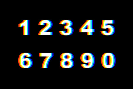 Numbers Distortion.Vector distorted glitch font. Trendy style lettering typeface. Number set Glitch typeface. Green and red channels. Trendy style distorted vector illustration