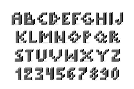Pixel retro video game font. 80 s retro alphabet font 向量圖像
