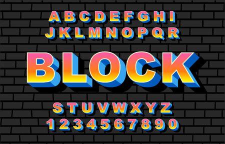 80 s retro alphabet font rainbow style, vintage.