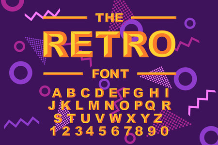 Vector of modern bold font and alphabet. Vintage Alphabet vector 80 s