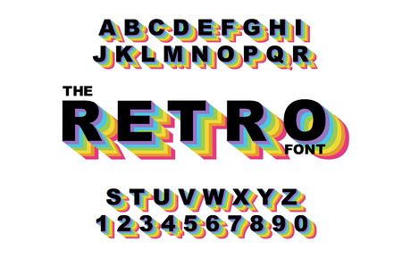80 s retro alphabet font. Rainbow Vintage Alphabet vector