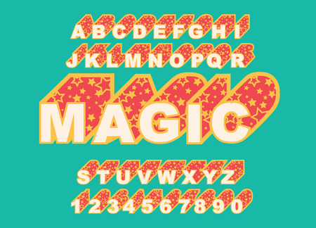 80 s retro alphabet font. Magic Vector typography for flyers