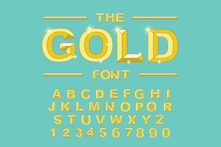 Gold modern bold font and alphabet. Vintage Alphabet vector 80 s