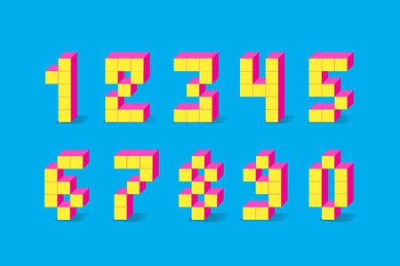 Pixel retro video game numbers. 80 s retro alphabet font. Illustration