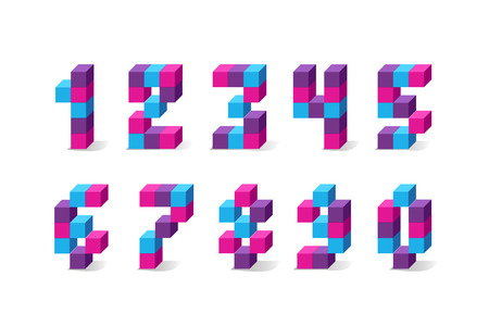 Pixel retro video game numbers. 80 s retro alphabet font. 向量圖像