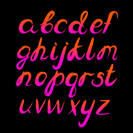 80 s retro Vector alphabet. Hand drawn letters.