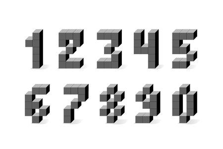 Pixel retro video game numbers. 80 s retro alphabet font. 8 bit letters and numbers typeface.