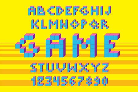 Pixel retro video game font. 80 s retro alphabet font.