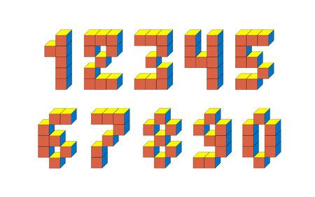 Pixel retro video game numbers. 80 s retro alphabet font. 版權商用圖片