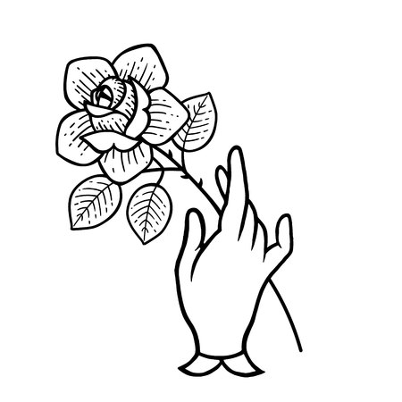 Rose tattoo with hand. Traditional black dot style ink. Boho Isolated vector illustration. Traditional Tattoo Flowers Set Old School Tattooing Style Ink Roses. Vintage style. Traditional art tattoos.