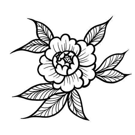 Tattoo Rose flower. Vector illustration art Isolated vector
