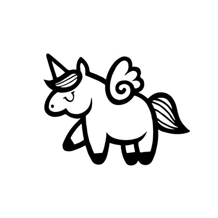 Unicorns. Vector illustration drawing isolated on white background. Cute unicorn graphic print, card, sticker, patch badge. Traditional art tattoos.