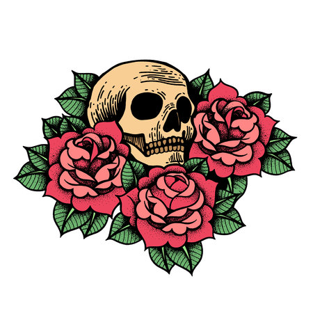 Rose tattoo with skull. Traditional black dot style ink. Roses isolated vector illustration. Traditional Tattoo Flowers Set Old School Tattooing Style Ink. Boho print, poster, t-shirt. textiles.