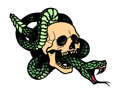 Tattoo with skull and snake. Traditional black dot style ink. Isolated vector illustration. Traditional Tattoo Old School Tattooing Style Ink. Snake silhouette illustration. Black serpent. Vettoriali
