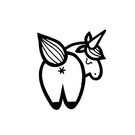 Unicorns. Vector illustration isolated on white background. 版權商用圖片