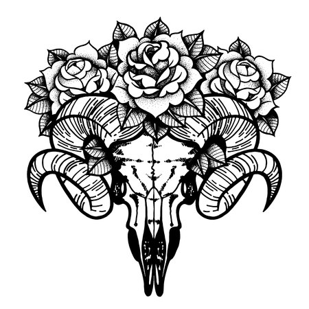 Rose tattoo with skull of a sheep isolated vector illustration.