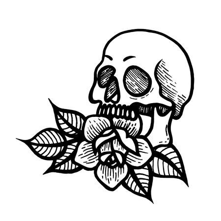 Rose tattoo with skull. Roses isolated vector illustration. 版權商用圖片