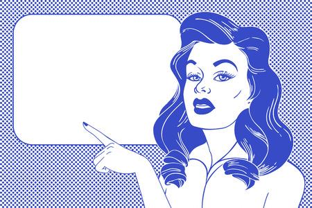 Pop art Woman and empty speech bubble.