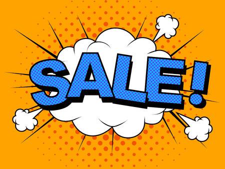 Comic Sale discount Vector cartoon illustration explosions.