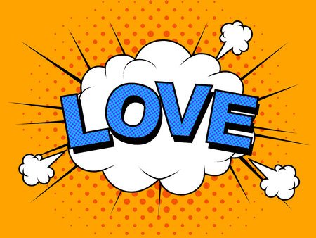 I love you. Vector image. Comic elements and patterns, phras. 向量圖像