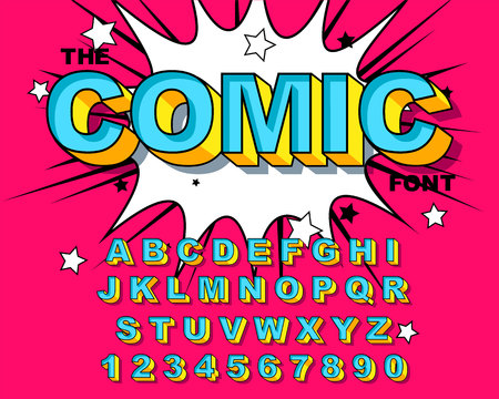 Comic Alphabet. Retro blue Letters, numbers for kids illustrations, websites, comics, banners. Vector Comic alphabet. Pop-art Cartoon ABC Lettering Font. Comics speech bubble bang for explosions. 向量圖像