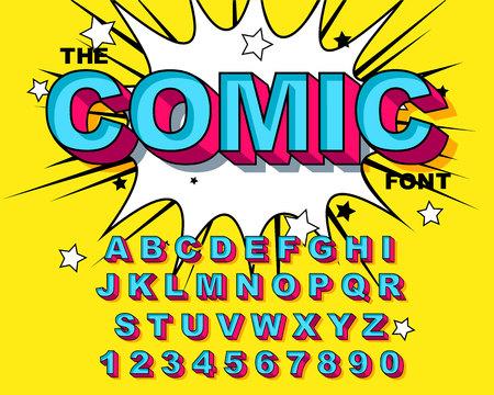 Comic Alphabet. Retro blue Letters, numbers for kids illustrations, websites, comics, banners. Vector Comic alphabet. Pop-art Cartoon ABC Lettering Font. Comics speech bubble bang for explosions. Иллюстрация