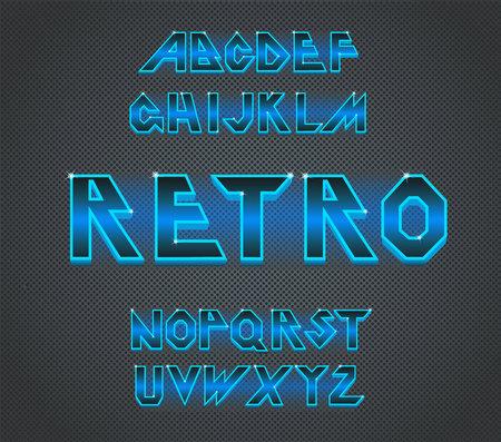 80 s retro font.Vector typography for flyers,headlines, posters.Effect shiny letters. 80s neon style,vintage dance night.Retro Futurism Sci-Fi Font Alphabet Vector.3d logo set elements design. Neon