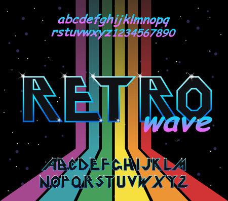 80 s retro alphabet font. Rainbow Vintage Alphabet vector 80 s, 90 s Old style graphic poster set. Eighties style graphic template. Template easy editable for Your design. 80s rainbow style, vintage. 向量圖像