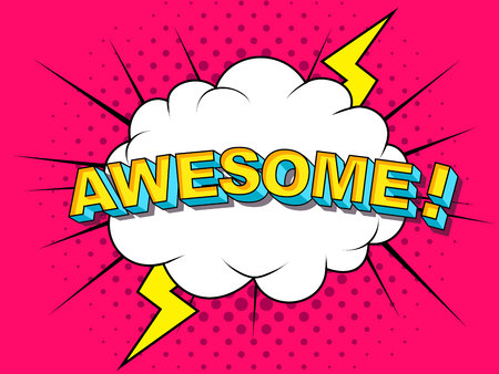 Awesome Comic Vector cartoon illustration explosions. Comics Boom Symbol, sticker tag, special offer label, advertising badge. Sign banner. Comics speech bubble bang. Clouds for explosions. Emotions