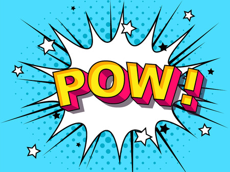 Pow Comic Vector cartoon illustration explosions. Comics Boom Symbol, sticker tag, special offer label, advertising badge. Sign banner. Comics speech bubble bang. Clouds for explosions. Emotions 向量圖像