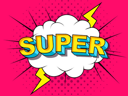 Super Comic Vector cartoon illustration explosions. Comics Boom Symbol, sticker tag, special offer label, advertising badge. Sign banner. Comics speech bubble bang. Clouds for explosions. Emotions