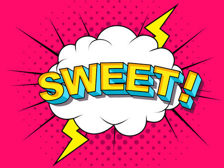 Sweet Comic Vector cartoon illustration explosions. Comics Boom Symbol, sticker tag, special offer label, advertising badge. Sign banner. Comics speech bubble bang. Clouds for explosions. Emotions