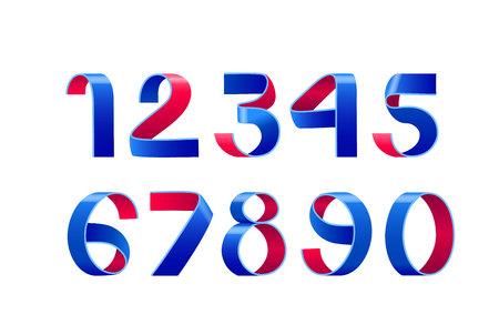 Vector of paper folding numbers. American color Ribbon script font. Vector of modern stylized paper font. Red and blue Alphabet letters. 3d number set. Elements design. Celebration logo.
