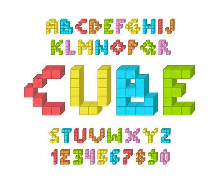 Color Pixel look retro video game font. 80 s retro alphabet font. 8 bit letters and numbers typeface.