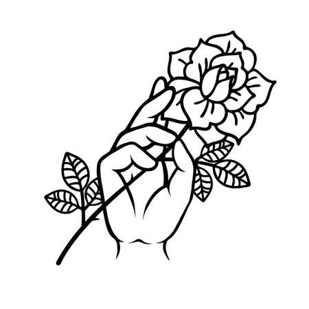 Rose tattoo with hand. Traditional black tyle ink.