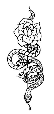 Tattoo with rose and snake. Traditional black style ink. 版權商用圖片 - 154429566
