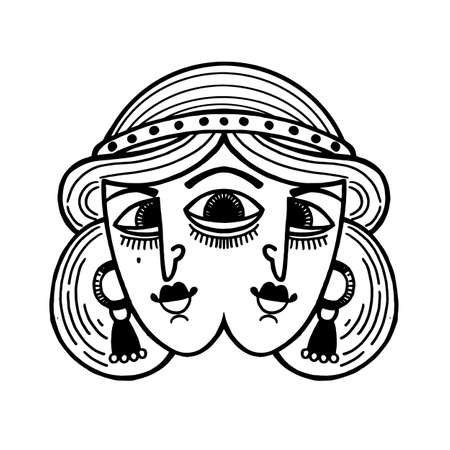 Tattoo with Magic surreal girl with three eyes. Beautifully detailed portrait of two headed woman.